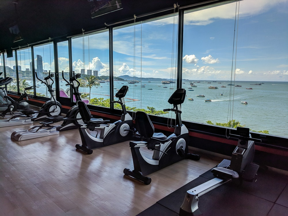 View of Pattaya Bay from Coco Fitness 4th floor window