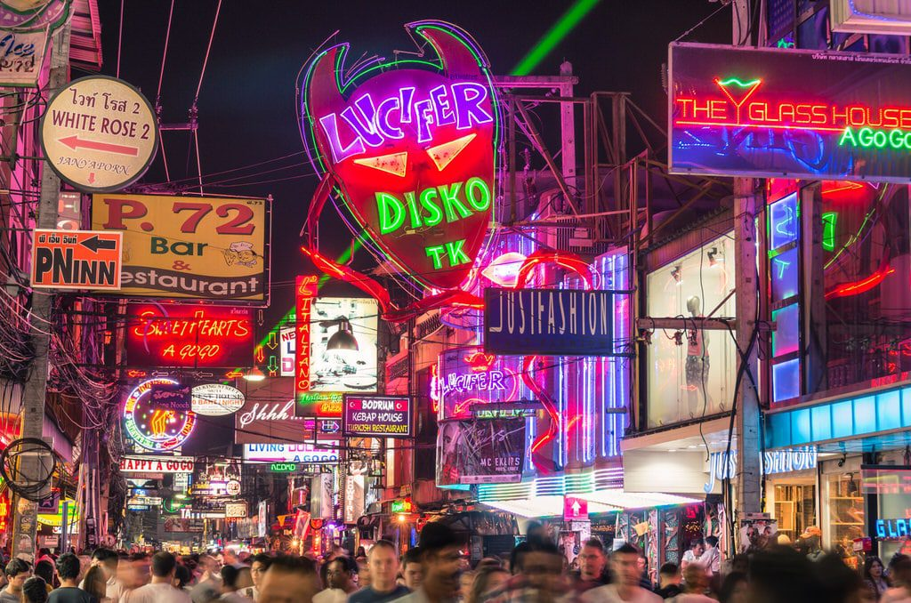 Walking Street Pattaya Lucifer Disco sign and neon lights.