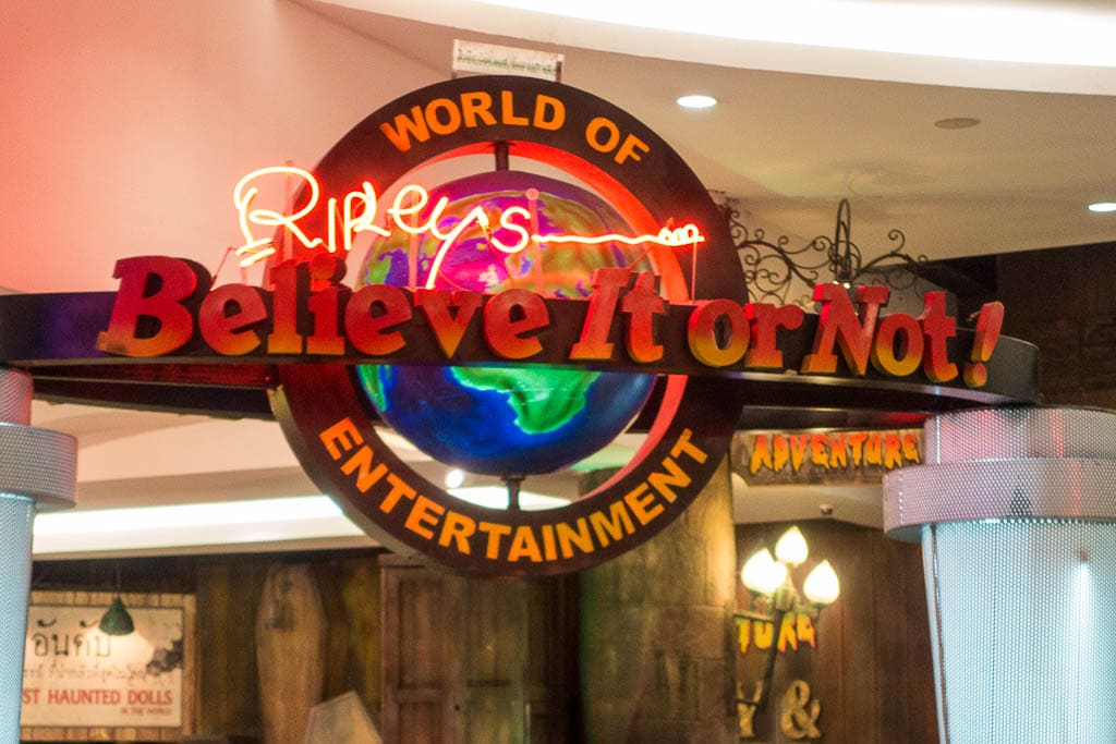Sign for Ripley's Believe it or Not in Pattaya