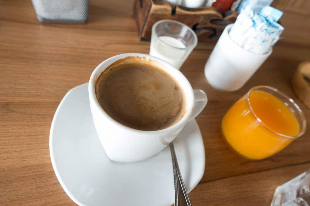 Coffee and orange juice at the Bake n' Brew Pattaya
