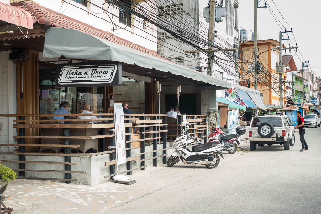 Outside of the Bake n' Brew restaurant in Pattaya, Thailand