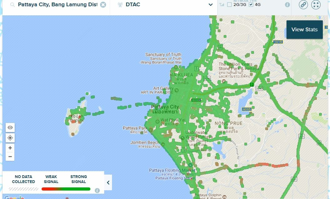 DTAC 4G Coverage in Pattaya