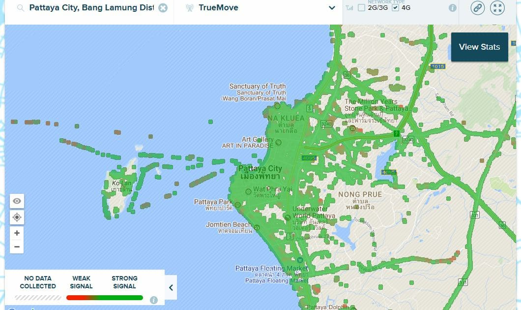 TrueMove H 4G Coverage in Pattaya