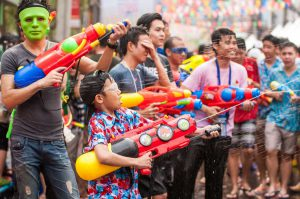 Songkran water guns and masks