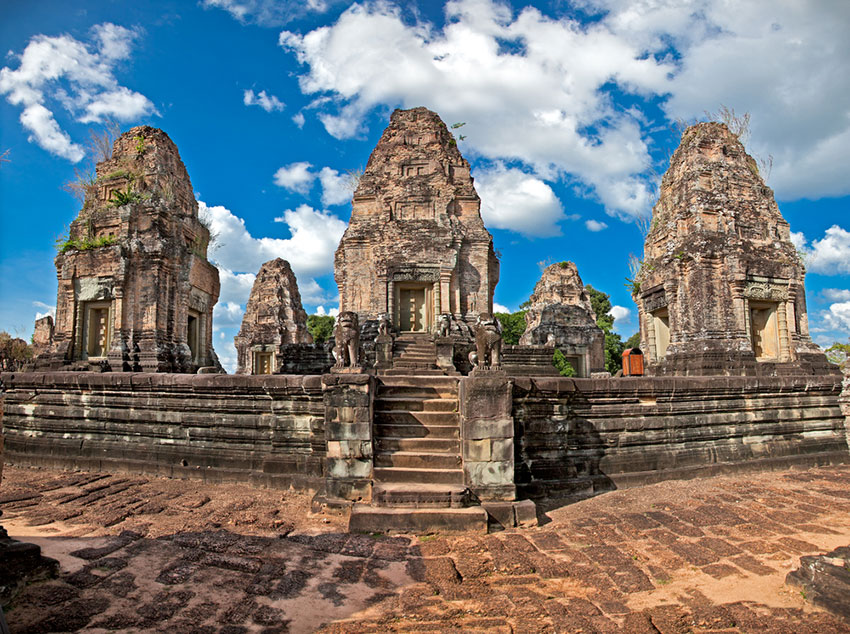 Photo of the East Mebon temple at Angkor Cambodia.