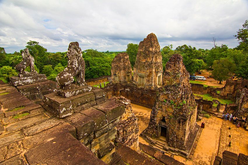 Looking down at the ruins of Pre Rup temple in Siem Reap Cambodia.