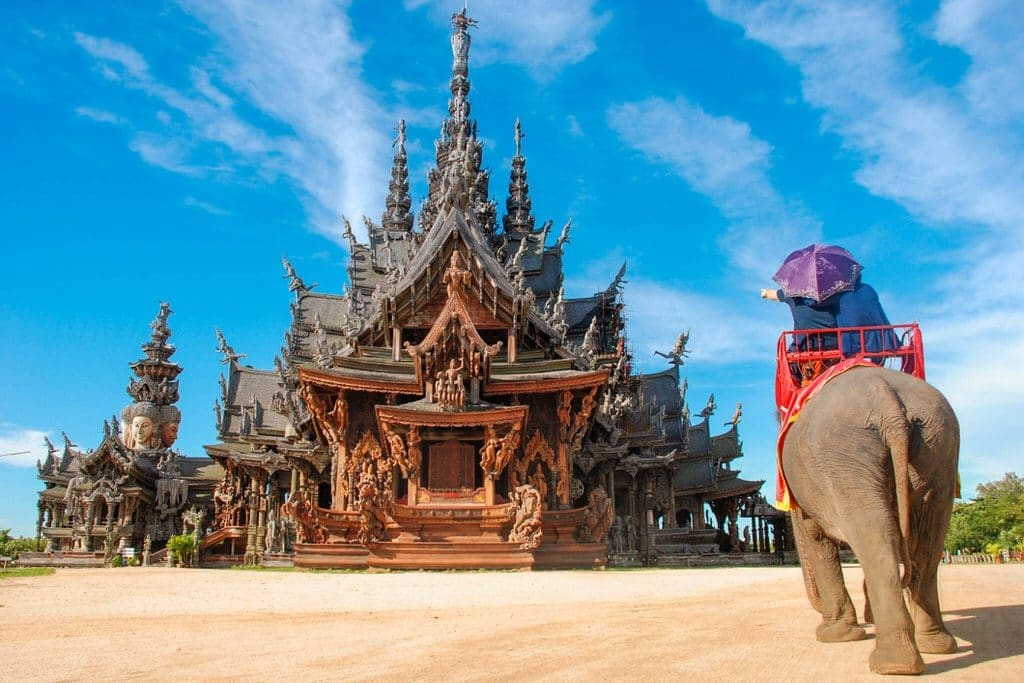 Elephant outside Sanctuary of Truth temple in Pattaya, Thailand