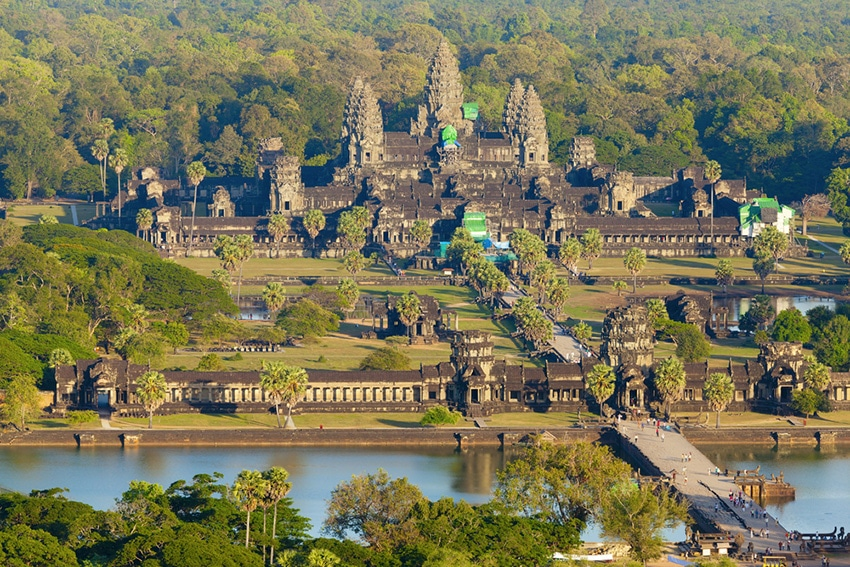 Aerial photo of the Angkor Wat temple in Siem Reap Cambodia.