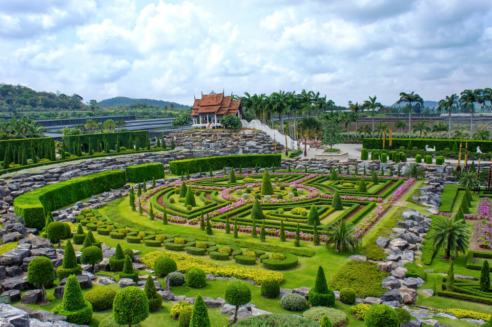 Photo of the French Garden at Nong Nooch Botanical Gardens in Pattaya, Thailand